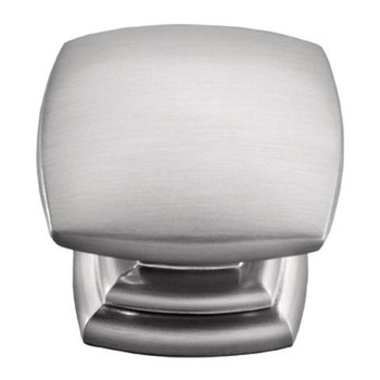 """Belwith Hickory, Euro Contemporary, 1 1/2"""" Square Knob, Stainless Steel"""
