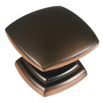 """Belwith Hickory, Euro Contemporary, 1 1/2"""" Square Knob, Oil Rubbed Bronze Highlighted"""
