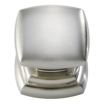 "Belwith Hickory, Euro Contemporary, 1 1/4"" Square knob, Satin Nickel"