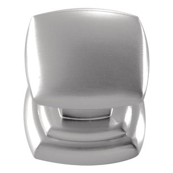 """Belwith Hickory, Euro Contemporary, 1 1/4"""" Square Knob, Stainless Steel"""
