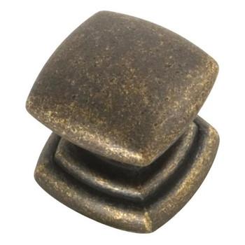 """Belwith Hickory, Euro Contemporary, 1 1/4"""" Square knob, Windover Antique"""