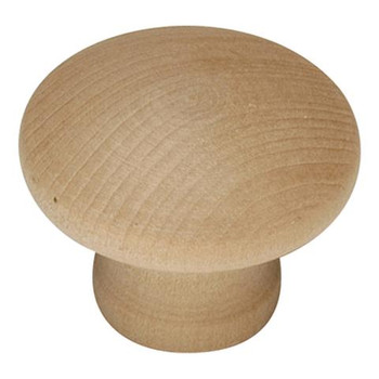 "Belwith Hickory, Natural Woodcraft, 1 1/4"" Round knob, Unfinished Wood"