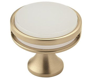 "Amerock, Oberon, 1 3/8"" (35mm) Round knob, Golden Champagne / Frost"