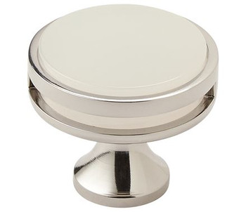 "Amerock, Oberon, 1 3/8"" (35mm) Round knob, Polished Nickel / Frost"