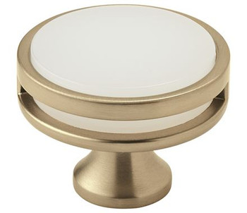 "Amerock, Oberon, 1 3/4"" (44mm) Round knob, Golden Champagne / Frost"