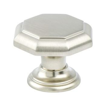 "Berenson, Euro Classica, 1 3/8"" Octagonal Round knob, Brushed Nickel"