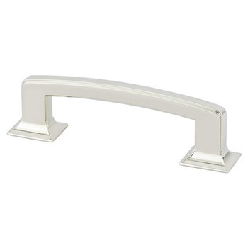 """Berenson, Designers Group Ten, 3 3/4"""" (96mm) Hearthstone Curved Pull, Polished Nickel"""