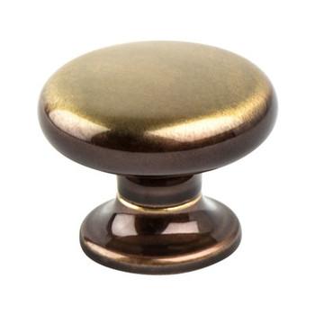 """Berenson, Valencia, 1 3/16"""" Round Knob, Brushed Bronze"""