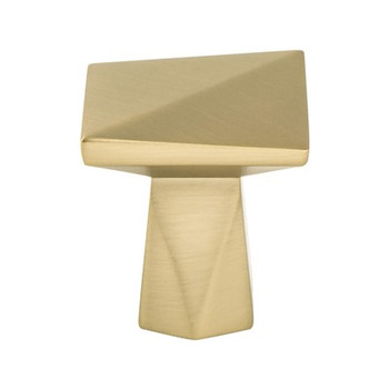 """Berenson, Swagger, 1 3/16"""" Square Knob, Modern Brushed Gold"""