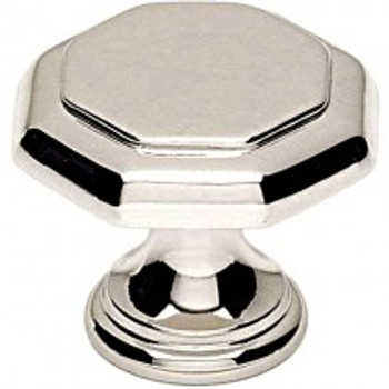"Alno, Contemporary Knobs, 1 1/8"" Round knob, Polished Nickel"