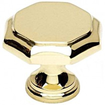 "Alno, Contemporary Knobs, 1 3/8"" Round knob, Polished Brass"