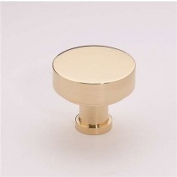 "Alno, Moderne, 1 1/8"" Round Knob, Polished Brass"