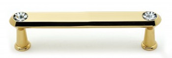 """Alno, Crystal, 4"""" Crystal Tall Round End Bar pull, Polished Brass"""