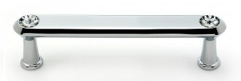 """Alno, Crystal, 4"""" Crystal Tall Round End Bar pull, Polished Chrome"""
