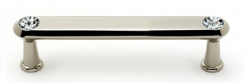 "Alno, Crystal, 4"" Crystal Tall Round End Bar Pull, Polished Nickel"