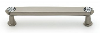"Alno, Crystal, 4"" Crystal Tall Round End Bar Pull, Satin Nickel"