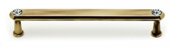 """Alno, Crystal, 6"""" Crystal Tall Round End Bar pull, Polished Antique"""