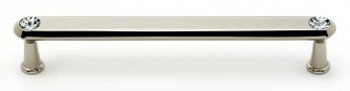 "Alno, Crystal, 6"" Crystal Tall Round End Bar Pull, Polished Nickel"