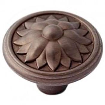 "Alno, Fiore, 1 1/2"" Round Knob, Chocolate Bronze"