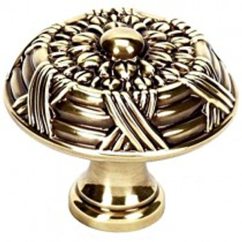 """Alno, Ribbon and Reed, 1 1/2"""" Round Knob, Polished Antique"""