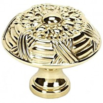 """Alno, Ribbon and Reed, 1 1/2"""" Round Knob, Polished Brass"""
