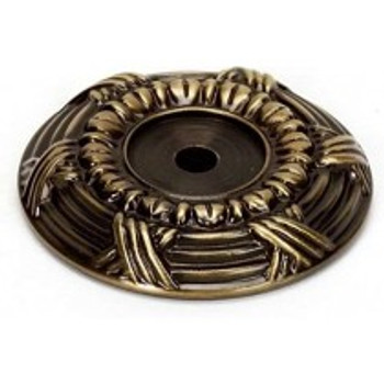 """Alno, Ribbon and Reed, 1 5/8"""" Round Knob Backplate, Antique English"""