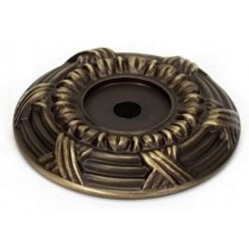 """Alno, Ribbon and Reed, 1 5/8"""" Round Knob Backplate, Antique English Matte"""