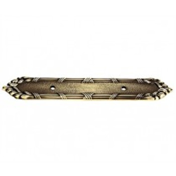 """Alno, Ribbon and Reed, 3"""" Drill Center Pull Backplate, Polished Antique"""