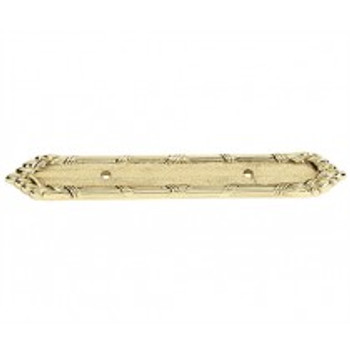 """Alno, Ribbon and Reed, 3"""" Drill Center Pull Backplate, Polished Brass"""