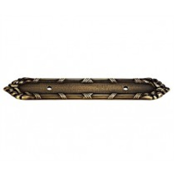 """Alno, Ribbon and Reed, 3 1/2"""" Drill Center Pull Backplate, Antique English"""