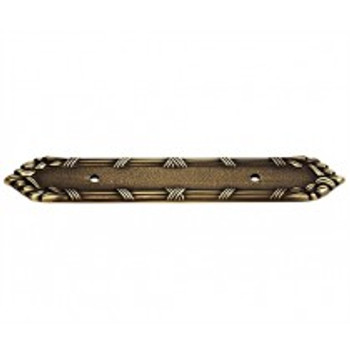 "Alno, Ribbon and Reed, 3 1/2"" Drill Center pull backplate, Antique English Matte"
