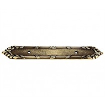 "Alno, Ribbon and Reed, 3 1/2"" Drill Center pull backplate, Polished Antique"