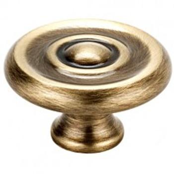 """Alno, Rope, 1 1/4"""" Round Rim Design knob, Antique English"""