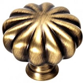 "Alno, Rope, 1 1/2"" Round Melon knob, Antique English"