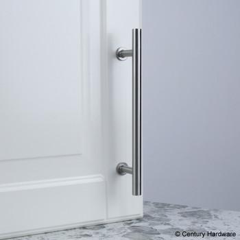 "Century, Modern Geo, Solid Brass 5 1/16"" (128mm) Bar pull, Matte Satin Nickel, mounted on white"