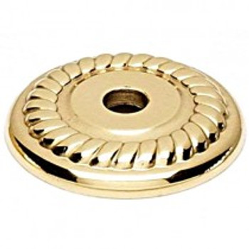 "Alno, Rope, 1 1/4"" Round knob backplate, Polished Brass"