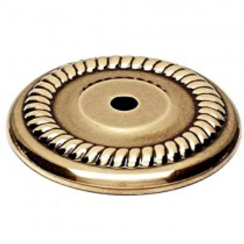 "Alno, Rope, 1 1/2"" Round Knob Backplate, Polished Antique"