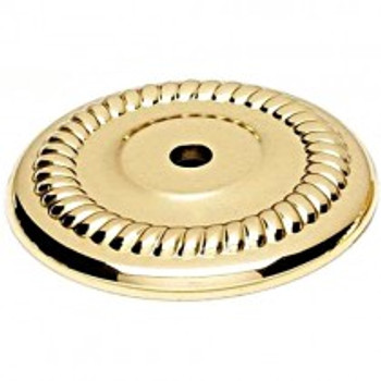 "Alno, Rope, 1 1/2"" Round knob backplate, Polished Brass"