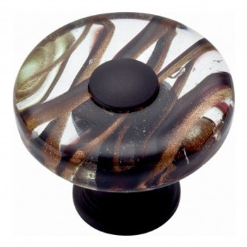 "Atlas Homewares, Dream Glass, 1 1/2"" Round knob, Milky Way Glass with Aged Bronze base"
