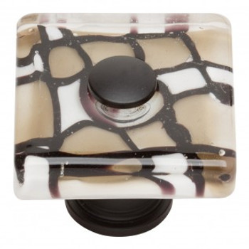 "Atlas Homewares, Dream Glass, 1 1/2"" Square knob, Viceroy Glass with Matte Black base"