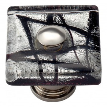 "Atlas Homewares, Dream Glass, 1 1/2"" Square knob, Eclipse Glass with Chrome base"