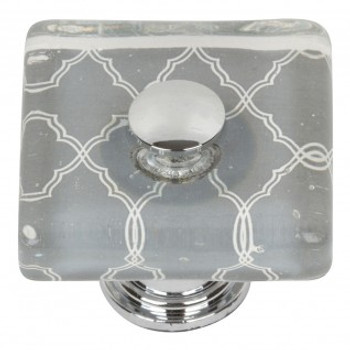 "Atlas Homewares, Dream Glass, 1 1/2"" Square knob, Quatrefoil Grey Glass with Chrome base"