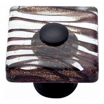 "Atlas Homewares, Dream Glass, 1 1/2"" Square knob, Milky Way Glass with Aged Bronze base"