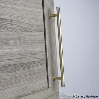 "Century, Modern Geo, Solid Brass 7 9/16"" (192mm) Bar pull, Satin Brass, mounted"