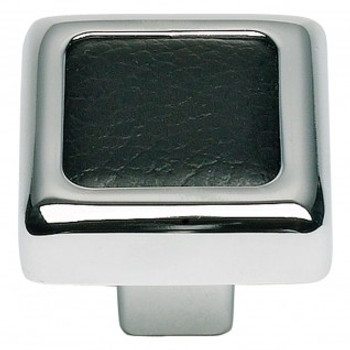 "Atlas Homewares, Paradigm, 1 1/4"" Square knob, Polished Chrome and Black Leather"