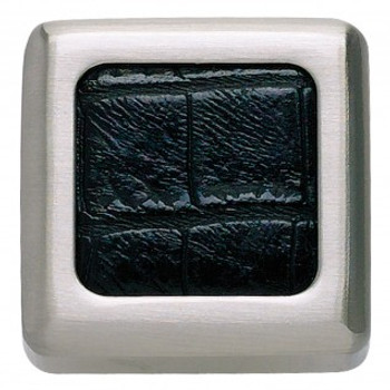 "Atlas Homewares, Paradigm, 1 1/4"" Square knob, Brushed Nickel and Black Croc Leather"