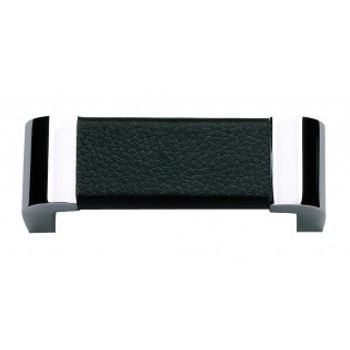 """Atlas Homewares, Paradigm, 3"""" Curved Pull, Polished Chrome and Black Leather"""