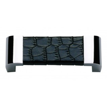 """Atlas Homewares, Paradigm, 3"""" Curved Pull, Polished Chrome and Black Croc Leather"""