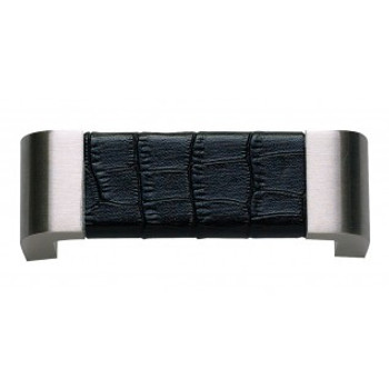 "Atlas Homewares, Paradigm, 3"" Curved pull, Brushed Nickel and Black Croc Leather"