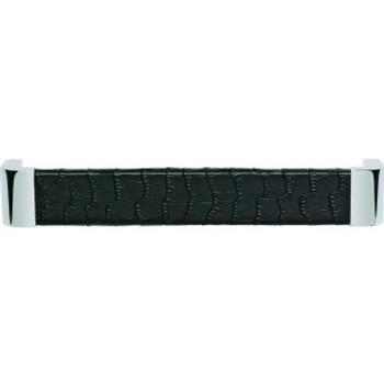 "Atlas Homewares, Paradigm, 6 5/16"" (160mm) Curved pull, Polished Chrome and Black Croc Leather"